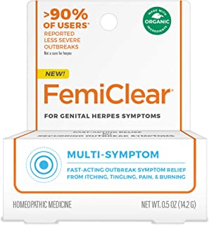FemiClear for Genital Herpes Symptoms - Multi-Symptom Relief, 0.5 oz Ointment   Fast-Acting   All-Natural & Organic Ingred...