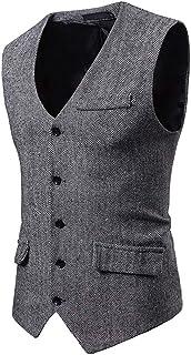 Men's Formal Bussiness Vest Solid Tuxedo Suit Waistcoat Jacket Top Coat Autumn Winter