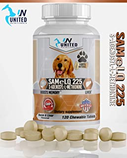 United Nutritionals Same 225 for Dogs, S-Adenosyl-l-Methionine, Promotes Brain Support and Liver Health - 60/120 Chew-able Tablets.