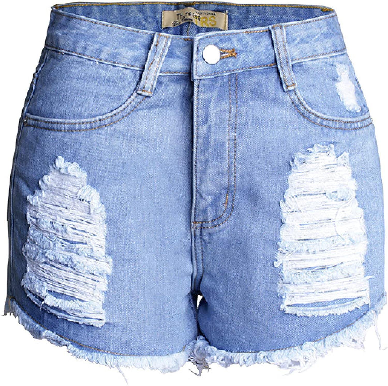 Women's Classic Ripped Denim Shorts Fashion High-Waist Washed Trend All-Match