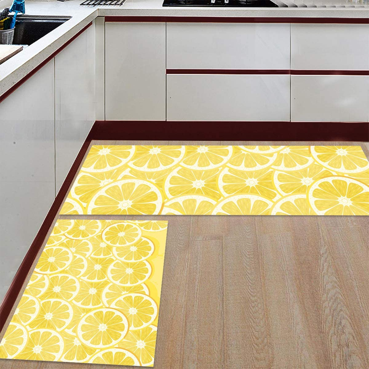 Cute Lemon Kitchen Rug Sets 9 Piece Non Slip Kitchen Mats and Rugs Yellow  Fruit Decorative Area Runner Rubber Backing Carpets Floor Doormat