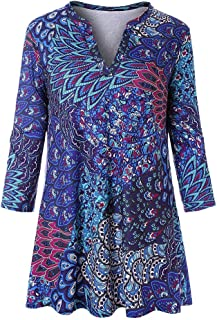 Womens Tops, Womens 3/4 Sleeves Floral Tunic Shirts Summer Casual Dressy Blouse Tops