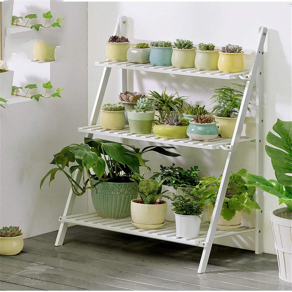 Soporte Plantas Escalera plegable de madera for exhibición de macetas de madera for plantas y macetas