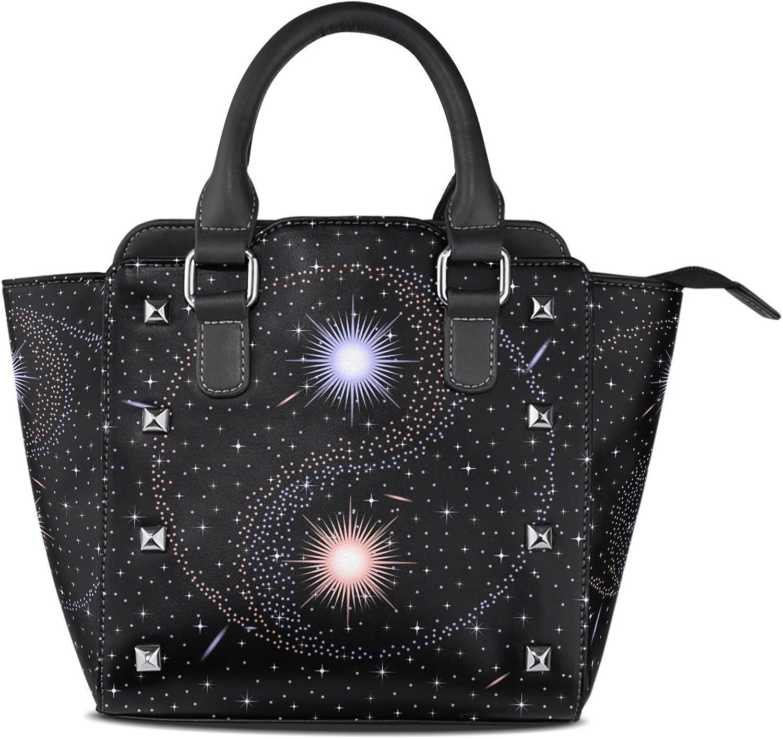 Sunlome Galaxy Star Yin Yang Print Handbags Women's PU Leather Top-Handle Shoulder Bags