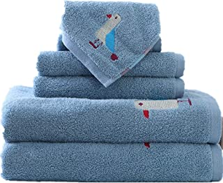 ANswet Child's Bath Towels Kids Likes Soft Cotton Bath Towel Sets 100% Pure Combed Cotton - 6 Pieces Sets
