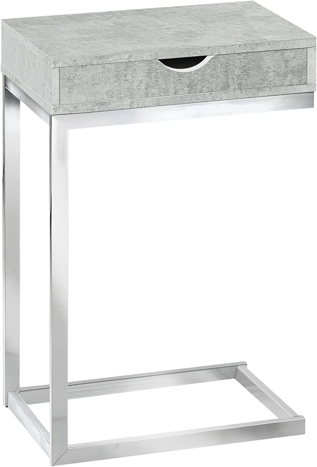Monarch Specialties I 3373 Chrome Metal Grey Cement with A Drawer Accent Table