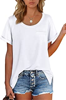 Sousuoty Women's T Shirts Crewneck Loose Fitting Short Sleeve Tops
