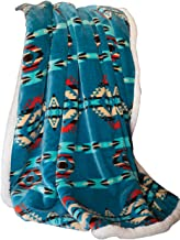 Carstens, Inc Carstens Soft Sherpa Plush Throw Blanket, Turquoise Southwest