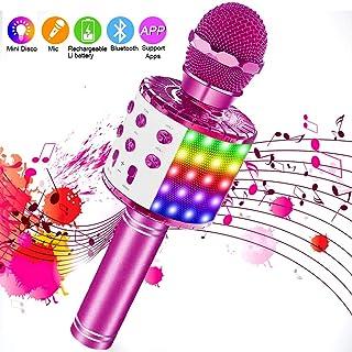 comprar comparacion SaponinTree Microfono Inalámbrico Karaoke, Micrófono Karaoke Bluetooth Portátil con Altavoz con Luces de Baile LED para Ni...