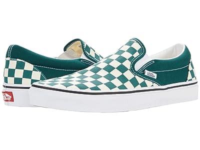 Vans Classic Slip-On ((Checkerboard) Bistro Green/True White) Skate Shoes