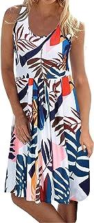 Women Dress QUINTRA Sleeveless O-Neck Floral Tunic Swing Dress Beach Sundress with Pockets A-line Casual Dress