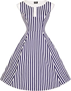 39c5fd5464 Hearts & Roses London Blue Stripe Nautical Vintage Retro 1950s Flared Sun  Dress