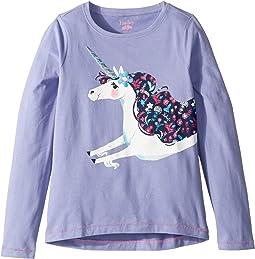 Lovely Unicorn Long Sleeve Tee (Toddler/Little Kids/Big Kids)