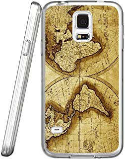 S5 Case Vintage nautical maps, LAACO Scratch Resistant TPU Gel Rubber Soft Skin Silicone Protective Case Cover for Samsung Galaxy S5