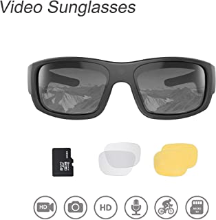 OhO Video Sunglasses,32GB 1080 HD Video Recording Camera for 1.5 Hours Video Recording Time with Built in 16MP Camera and Polarized UV400 Protection Safety and Interchangeable Lens