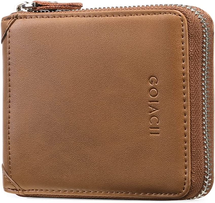 GOIACII Men's Genuine Leather Zipper Wallet RFID Blocking Bifold Multi-card Leather Wallets and coin purse