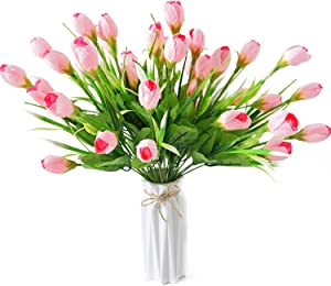 Beferr 4pcs Artificial Tulips Flower 15.5