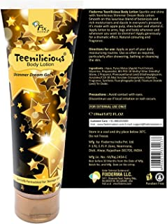 Teenilicious Gold Sparkle and Shine Body Glitter lotion & Smoothing Lotion Non-Greasy with Apple Pulp, Shea Butter & Vitamin E, 150ml