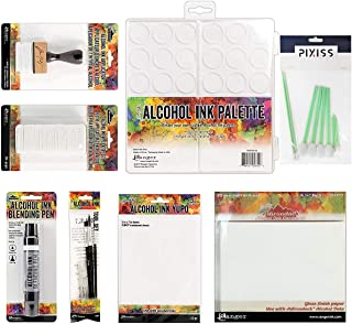 Tim Holtz Alcohol Ink Accessory Bundle, Alcohol Ink Applicator, 50x Applicator Felt Replacements, Alcohol Ink Palette, Ink Card Stock, Translucent Yupo Paper, Ink Tool Set, Pixiss Blending Tools Set