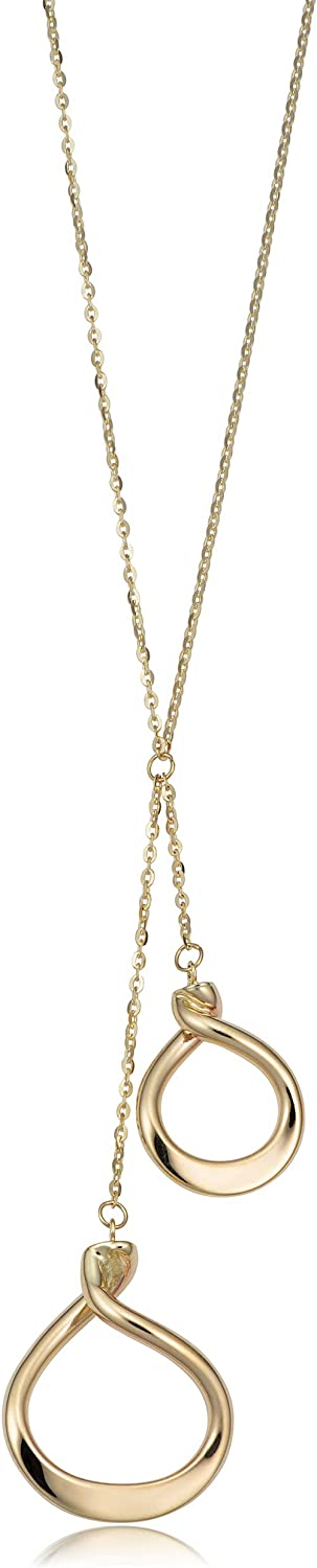 Kooljewelry 14k Yellow Gold Double Drop Necklace (adjusts to 17 or 18 inch)