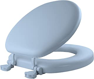 MAYFAIR Soft Toilet Seat Easily Remove, ROUND, Padded with Wood Core, Light Blue, 13EC 034