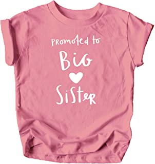 Promoted to Big Sister Heart Sibling Reveal Announcement T-Shirt for Baby and Toddler Girls Sibling Outfits