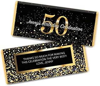 Milestone 50th Birthday Favors Personalized Chocolate Bar Wrappers (25 Count)
