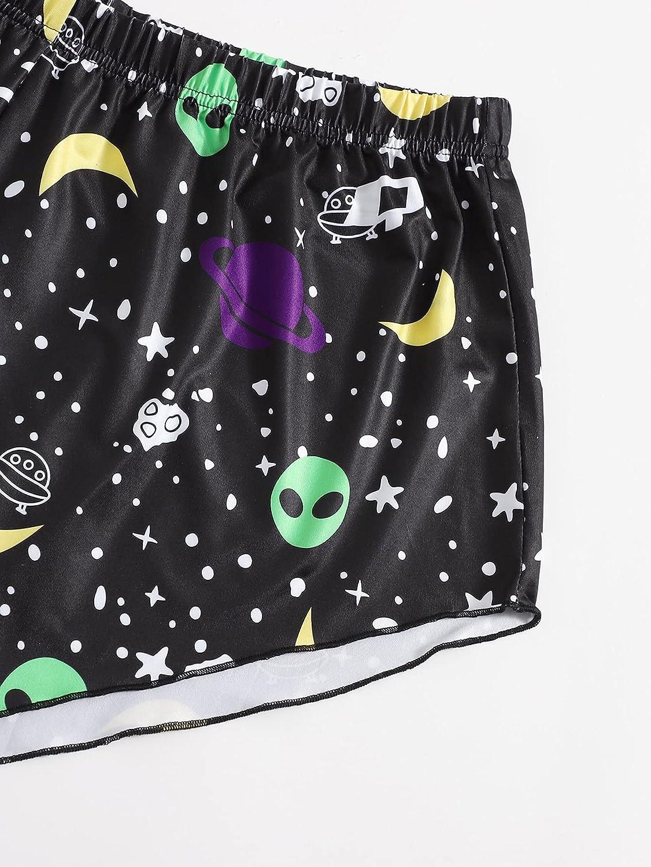 SOLY HUX Women's Plus Size Cartoon Print Cami Top and Shorts Pajama Set Sleepwear