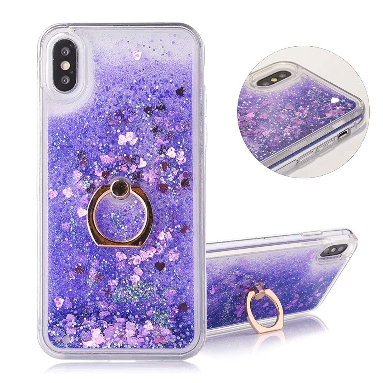 DasKAn Floating Liquid Glitter Case for iPhone Xs Max with Finger Holder Ring Stand,Bling Sparkle Flowing Hearts Sequins Moving Quicksand Clear Back Cover Hard Plastic Protective Phone Case,Purple