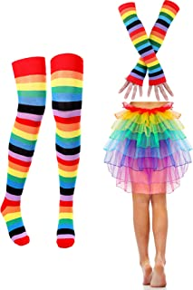 Women Striped Costume Accessories Set, Include Rainbow Striped Gloves Socks Dress Skirt for Women and Girl Party Accessory