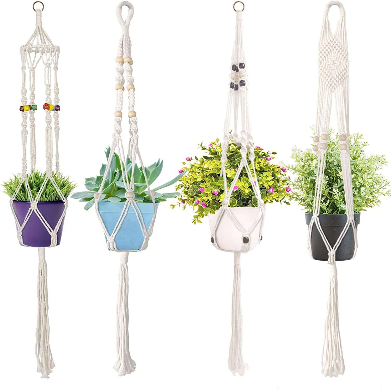 Macrame Courier shipping free Plant Hanger - 4 Pack Indoor H Duty Heavy 2021 spring and summer new Hangers