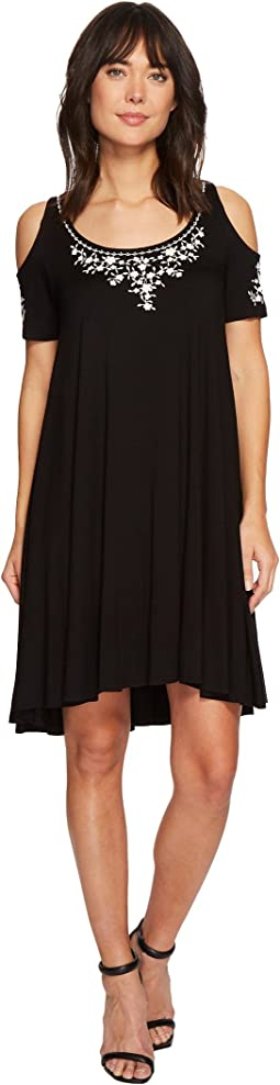 Karen Kane Cold Shoulder Embroidered Maggie Dress