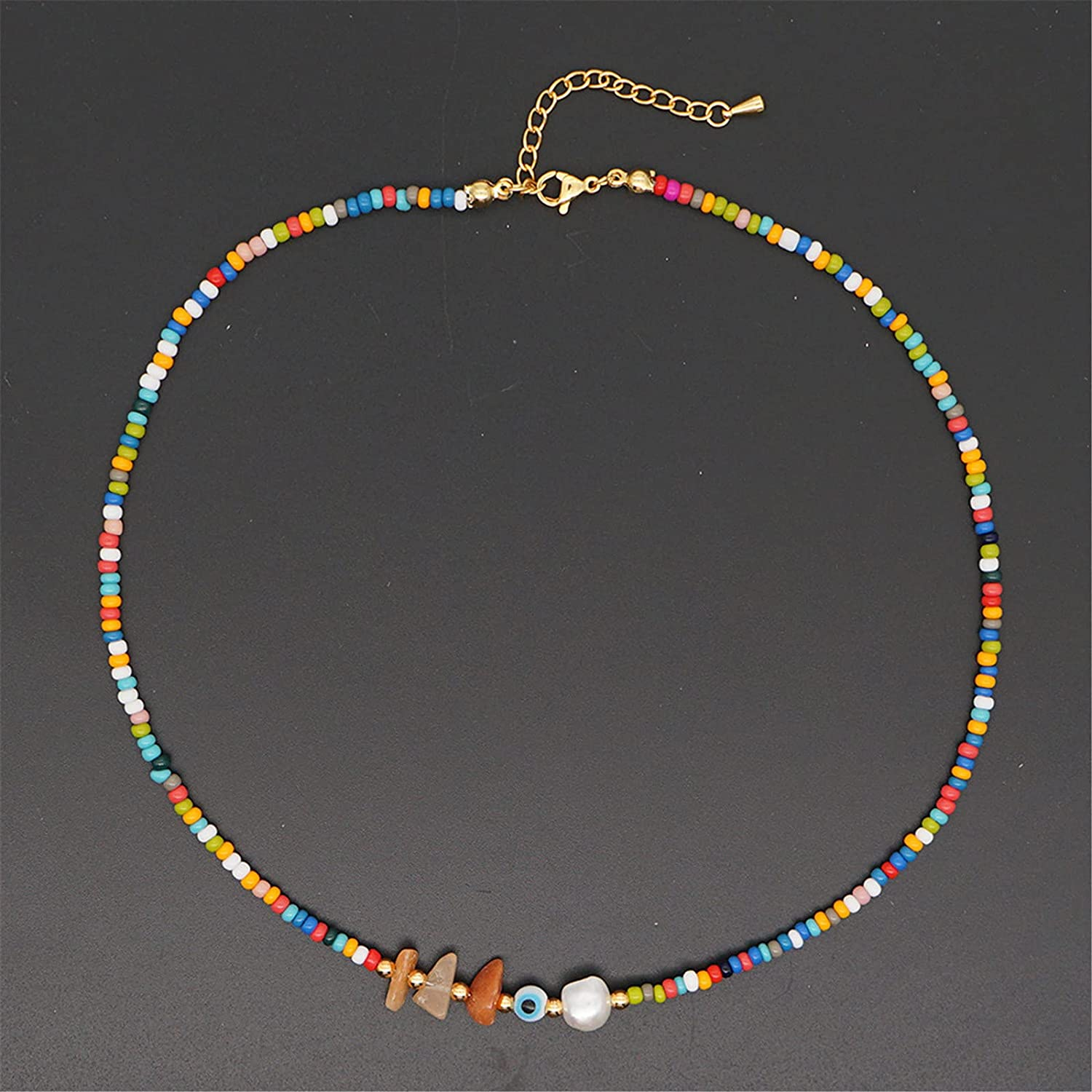 Bohemian Colorful Natural Stone Beaded Faux Pearl Choker Necklace Handmade Adjustable Rainbow Seed Collar Necklace for Women Girl Teen Boho Y2K Jewelry