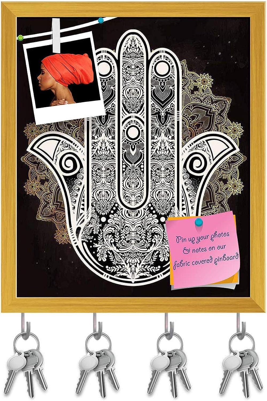 Artzfolio Hamsa Hand of Fatima Arabic Jewish Cultures D3 Key Holder Hooks   Notice Pin Board   golden Frame 16 X 19Inch