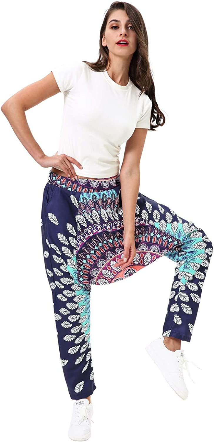 Elegent Harem Yoga Pants for Women Bohemian bluee,Plus Size India Floral Printed Lantern Pants Zumba Belly Dance Lightweight Inelastic Loose Charming