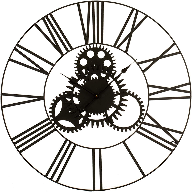 TENDENCIA UNICA Universelle Wanduhr, Durchmesser 80 cm, mit rmischen Zahlen. Metallstruktur mit schwarzer Epoxidlackierung.