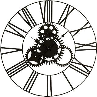 TU TENDENCIA UNICA Reloj de Pared de 80cm de diámetro con números Romanos. Estructura metálica con Pintura epoxi Negra