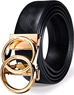Barry.Wang Double Ring Belt for Men Genuine Leather with Ratchet Buckle Adjustable Gold Black Fashion Business Gift