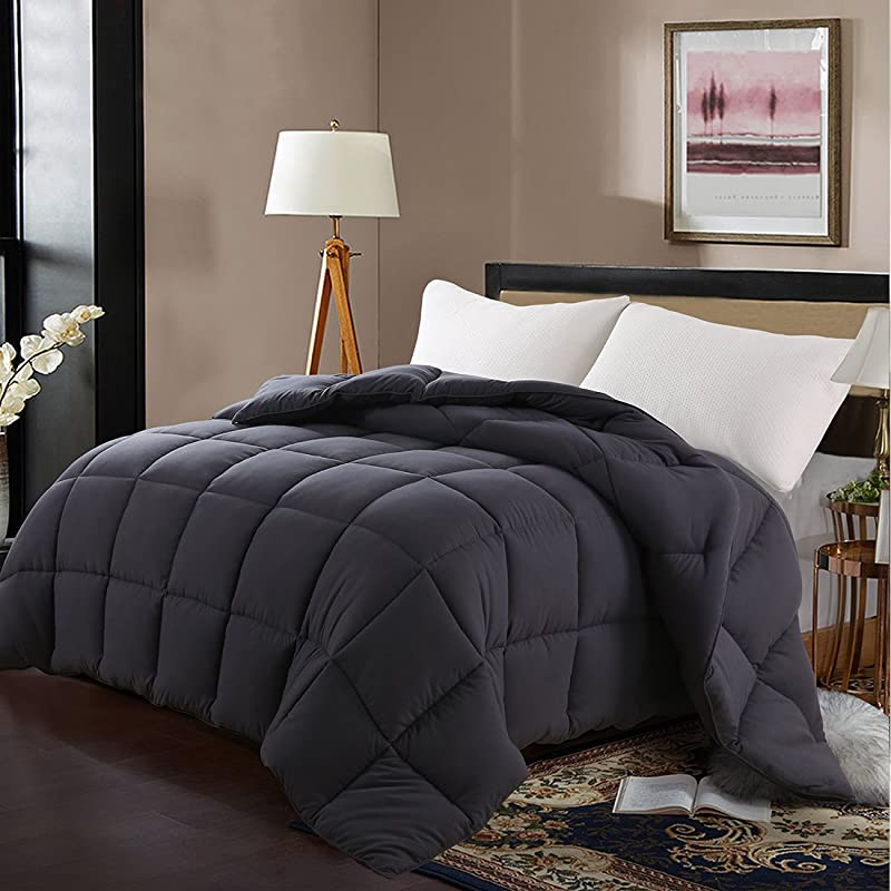 Edilly Luxury Down Alternative Quilted Queen Comforter Stand Alone Comforter For Queen Size Bed Year Round Duvet Insert With 4 Corner Tabs 88 X 88 Darkgrey