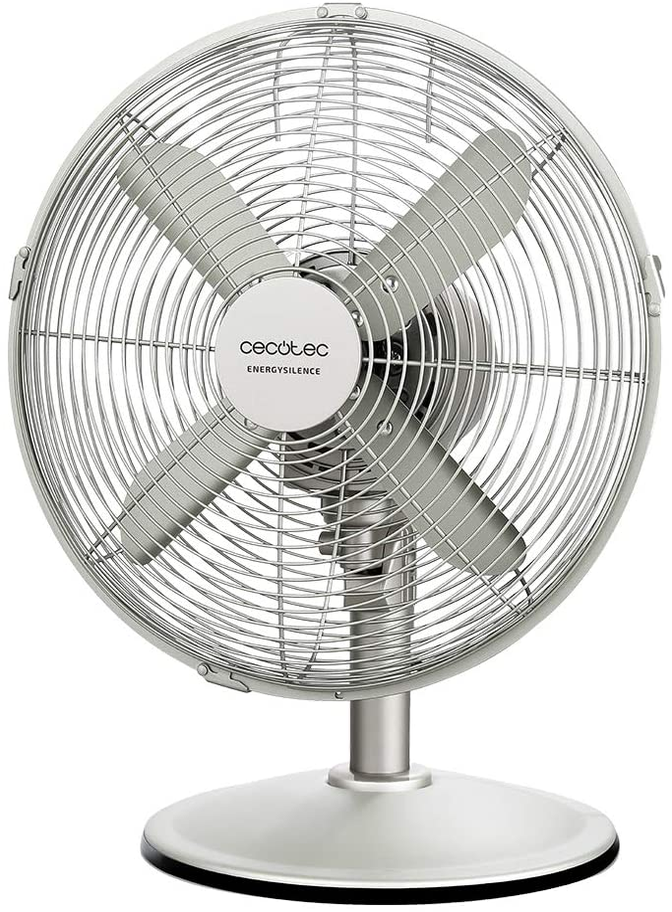 Cecotec Ventilador de Sobremesa EnergySilence 570 SteelDesk. 45 W, 4 Aspas de 30 cm de Diámetro, Oscilante, 3 Velocidades, Motor de Cobre, Acabado Metálico