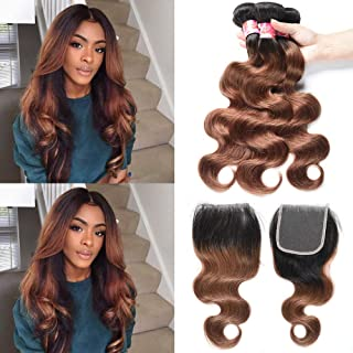 XCCOCO Brazilian Ombre Virgin Hair Full Body Wave 3 Bundles with Closure 1B/30 Two Tone Ombre Brown Human Hair Weave Bundles with Lace Closure Free Part(10 10 10+10inch Closure)