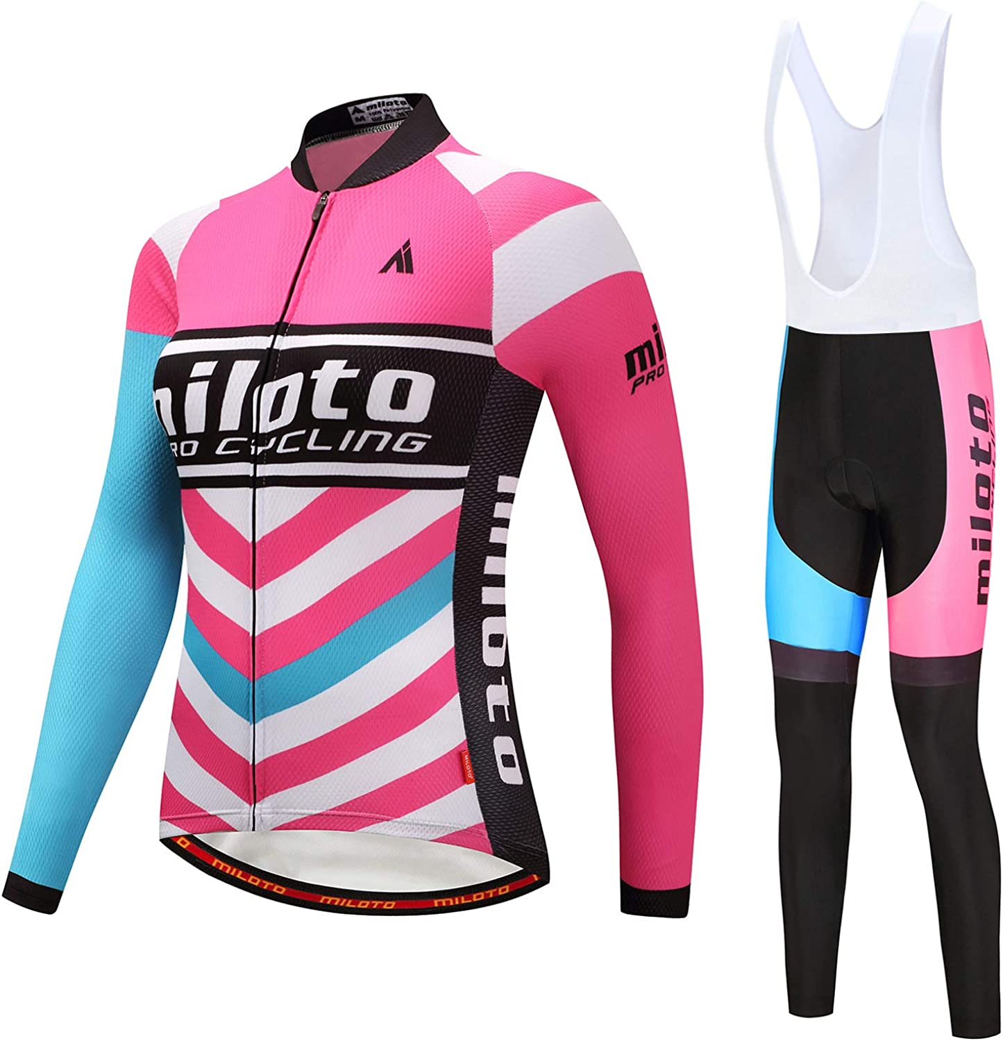 MILOTO Women's Cycling Jersey Set Long Sleeve Top Coolmax Gel Padded Pants