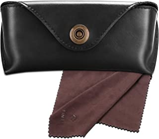Fintie Portable Sunglasses Case, Semi-Hard Vegan Leather Glasses Carrying Case Eyewear Pouch with Snap Button Closure