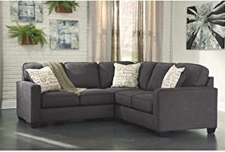 2-Piece Charcoal Loveseat and Sofa Sectional Black Modern Contemporary Solid L-Shape Polyester Blend Removable Cushions