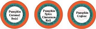 Smart Sips, Pumpkin Lovers Variety Sampler Pack- Pumpkin Spice Cinnamon Roll, Pumpkin Caramel Swirl, Pumpkin Cognac - for All Keurig K-cup Machines