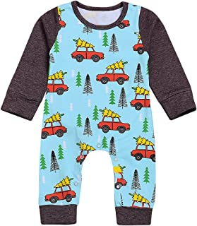 KONIGHT Newborn Baby Boys Girls Long Sleeve Romper Christmas Trees and Cars Print Splice Contrast Color Jumpsuit Pants