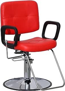 BarberPub Classic Hydraulic Barber Chair Salon Beauty Spa Shampoo 9837 Red (Red)