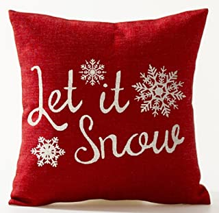 Season's Blessing Various Snowflakes Let It Snow Red Background Merry Christmas Gifts Cotton Linen Decorative Throw Pillow Case Cushion Cover Square 18