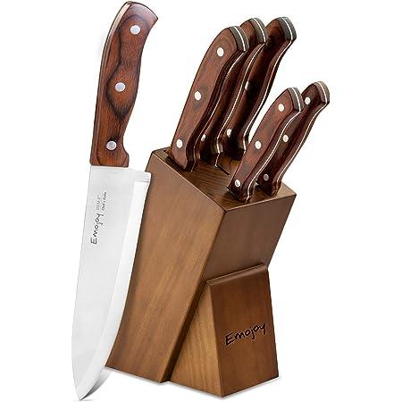 Emo joy Couteaux de Cuisines Professionnels, Ensemble de Couteaux, 6 Pièces Set Couteaux Cuisine en Acier Inoxydable, Bloc de Couteaux avec Support en Bois