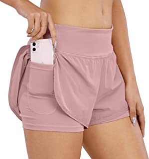 CongYee Women Athletic Shorts with Inner Zipper Pockets Loose Gym Yoga Shorts Quick-Dry Workout Sports Active Running Shorts